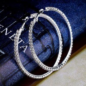 """Silver 2"""" Rhinestone Full Hoop Earrings"""
